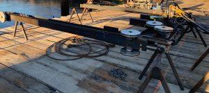 Rail saw cutting bridge piers